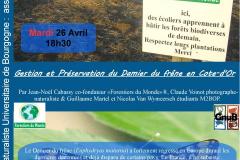 Affiche de la conférence organisée par le GNUB et Forestiers du Monde® le mardi 26 avril 2016 à l'Université de Bourgogne à Dijon.