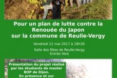 Affiche de la soirée conférence organisée le 12 mai 2017 au sein de la salle des fêtes de Reulle vergy afin de présenter le plan communal de lutte contre la Renouée du Japon élaboré par les étudiants de l'Université de Bourgogne.