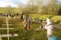 Plantation du bosquet biodivers le  5 décembre 2011. Création forestière pédagogique biodiverse d'Arnay le duc.