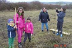 Accueil de familles dimanche matin 19 novembre 2017. Création forestière pédagogique biodiverse de Morey Saint Denis.