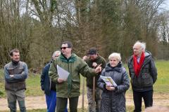 Jeanne et Christian BOILEAU inaugure la signalétique pédagogique installée sur leur terrain désormais création forestière pédagogique biodiverse. Lundi 21 mars 2016. Saint Germain le Rocheux.