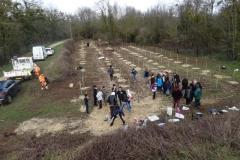 Plantation de la première parcelle de la nouvelle forêt urbaine de Longvic le 14 février 2020