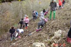 Les écoliers de l'Etang Vergy. Reforestation pédagogique biodiverse de Reulle Vergy. 19 novembre 2018.